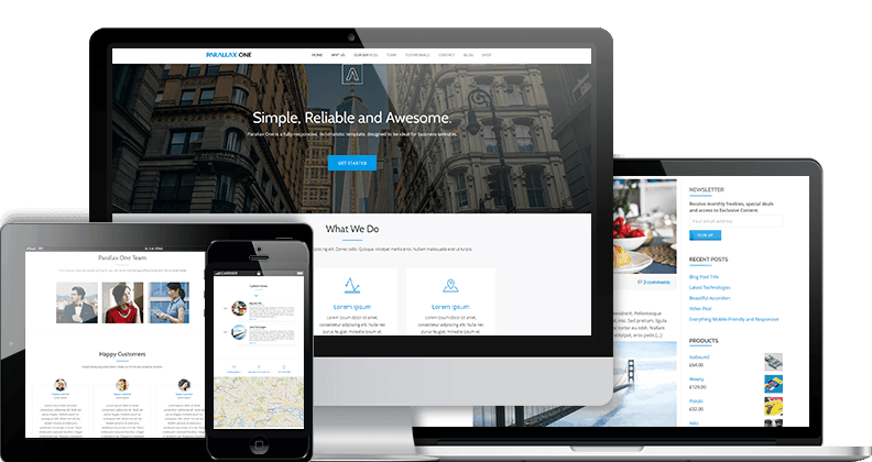 Parallax One Free WordPress Business themes
