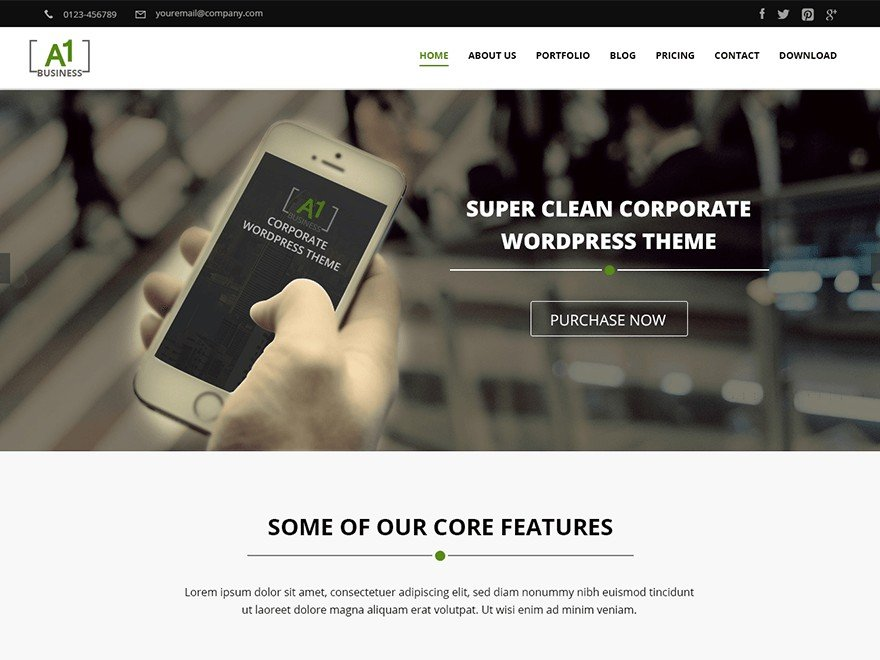 A1 Free WordPress Business Services Theme