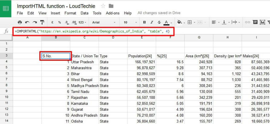 How to Import Table Web Data into Google Docs