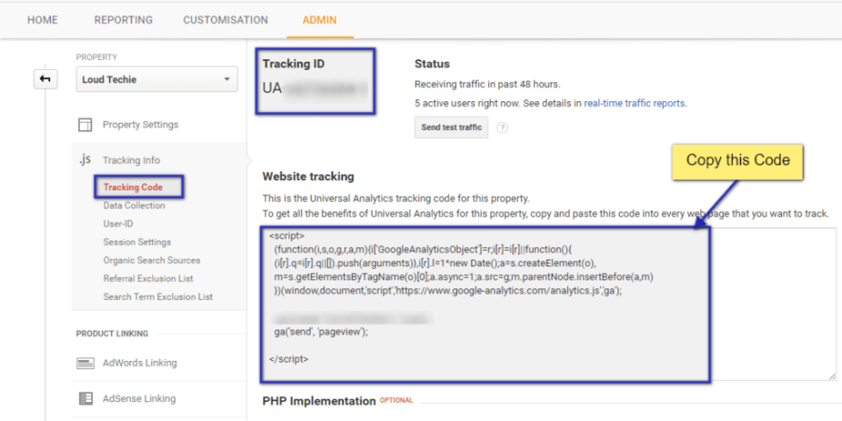 How to find Tracking Code in Google Analytics
