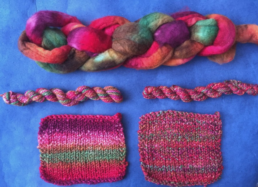 Swatches knitting with handspun yarn