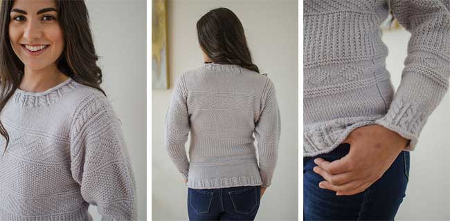 Erin knitting sweater by Louet North America