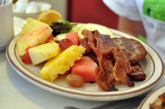 Louisa's Chuckwagon Breakfast with a side of Fruit