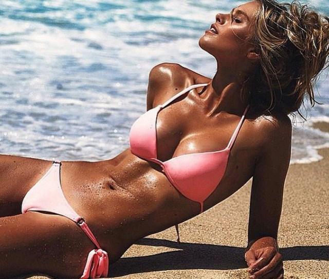 Instagram Blonde Girl Tanned Triangl Bikini Pool Summer Beach