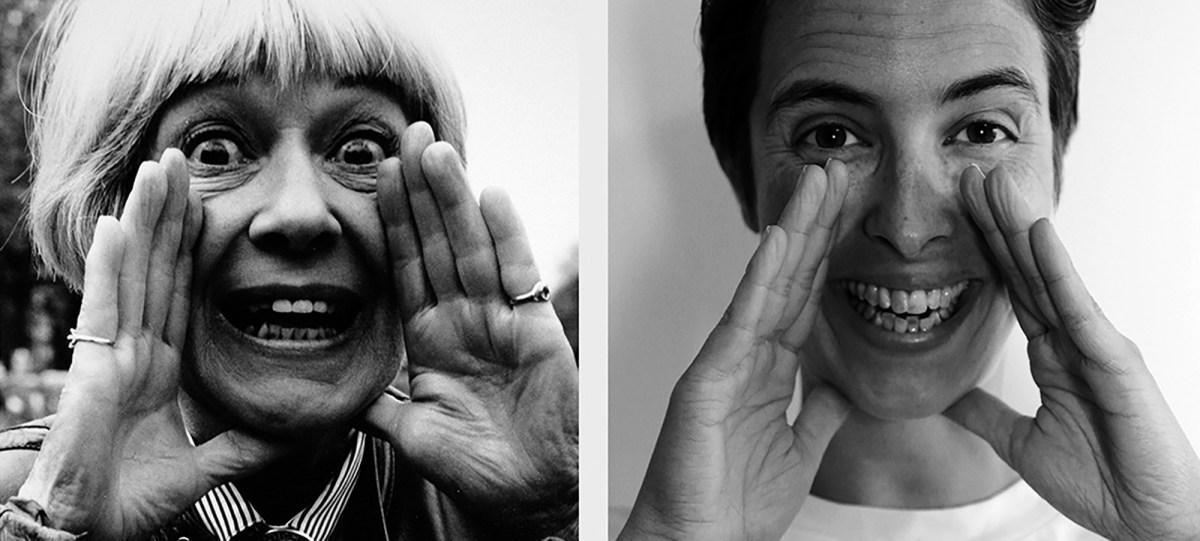 Kontakt - Två bilder, en på Jackie Forster och en på Louise Blad, som gör samma min och håller händerna på samma sätt, bredvid varandra.