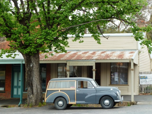image of Historic car in the main street of  Maldon a town in Victoria's Goldfields region