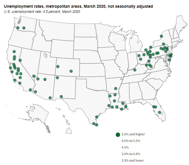 map us cities exceeding 5.6% unemployment rate march 2020