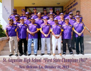 Attending St. Augustine High School's Reunion Week, were members of the 1963 football team and coaching staff that were the first to capture a State Championship title for the school. From left to right, first row: Assistant Coach Otis Washington, McArthur McLaughlin, Ernest Irving, John Roussell, John Walker, Alvin Lee, Coach Eddie Flint, second row, Noel Fouche, Glenn Alexander, Alfred Jenkins, Charles Richard, Ellsworth McKendall, Jayson Blunt; third row, Sam Castle, Trainer Eric Fobbs, Charles Manego, Irvin Hawthorne, Danny Bakewell, Sidney Logan, Anthony Lowery and Walter Goodwin.