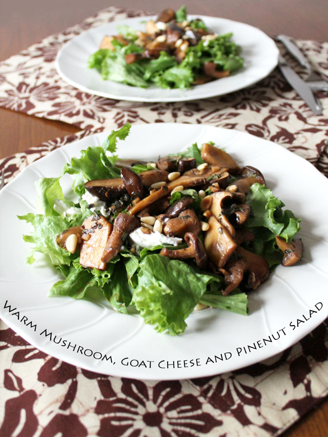 salad-with-warm-mushrooms-goat-cheese-and-pinenuts