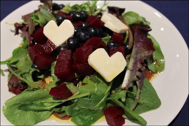 beet blueberry salad valentine salad cheese hearts