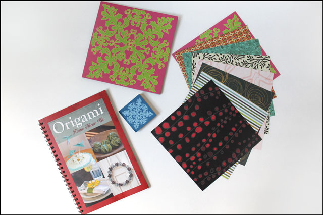 thriftred-origami-papers and book