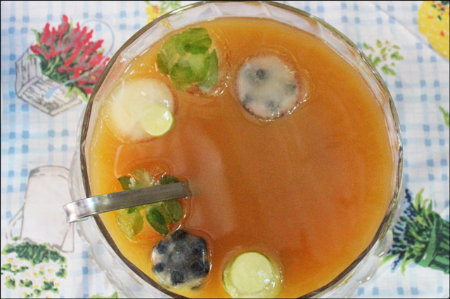 punch-with-mint-blueberry-and mint ice cubes