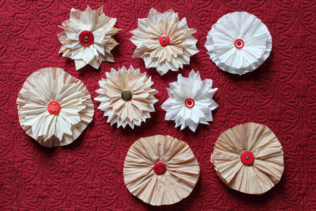 diy gift decorations flowers made with coffee filters handmade gift toppers
