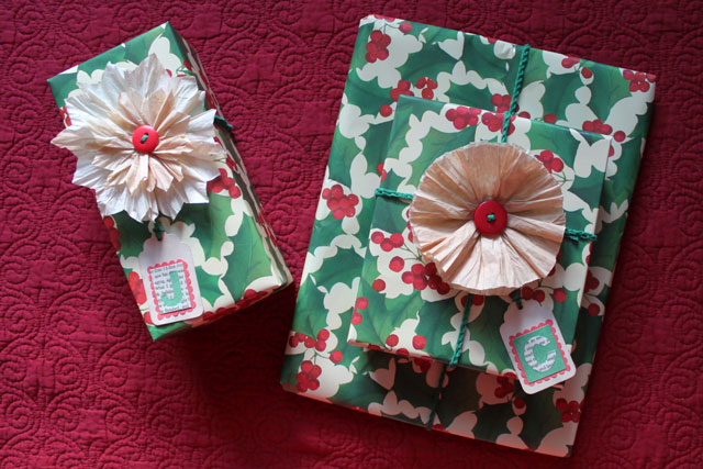 gifts wrapped with coffee filter flowers handmade gift topper