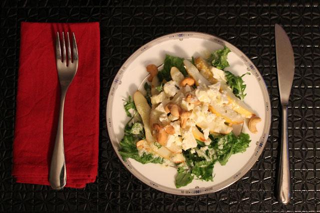 pear-cashew-salad feta arugula tarragon dressing