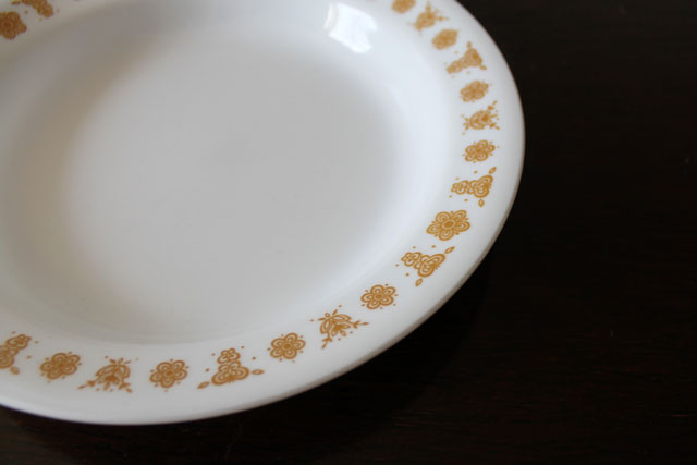 thrifted-corelle-soup-plate-butterfly-gold-vintage