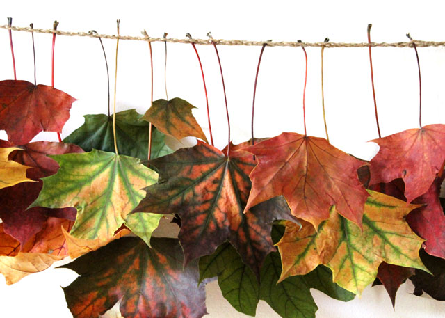 close-up-of-handmade-maple-leaf-garland
