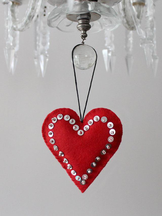 felt heart sequins and beads handmade valentine decoration puffy heart ornament