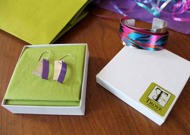 anodized aluminum earrings and bracelet by jon klar jewellery from trove shop toronto accessories