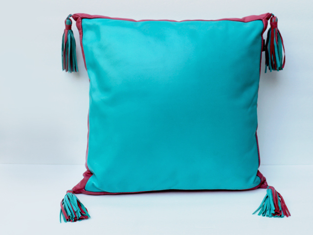 leather-throw-pillow-turquoise-and-pink-from-thrift-store