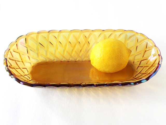 thrifted-amber-pressed-glass-oval-bowl-vintage-carnival-glass
