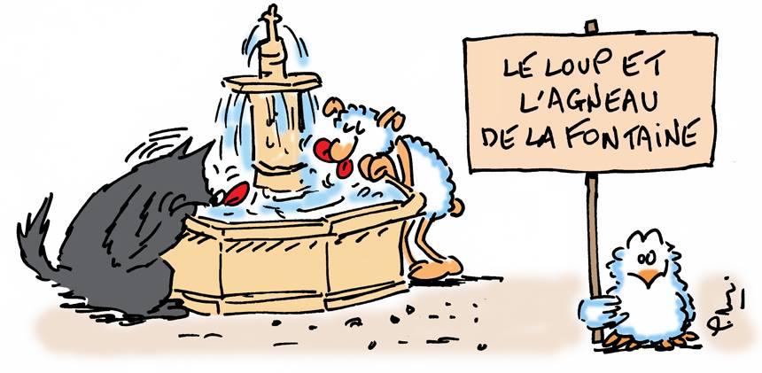 Le loup et l 39 agneau de la fontaine - Dessin loup et agneau ...