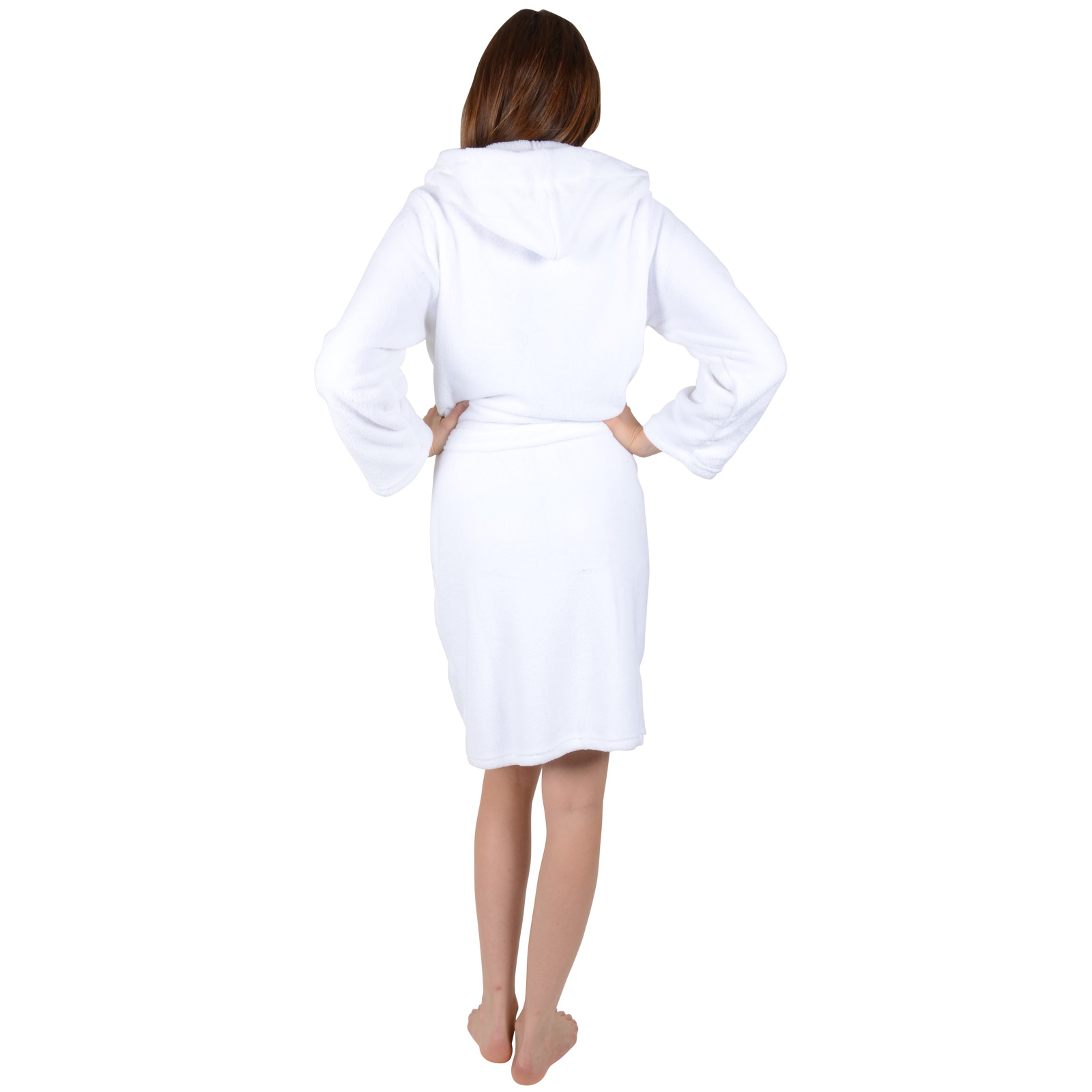 f3c76a7bb2be8 Home / Women / Ladies White Soft Coral Fleece Bath Robe With Hood Dressing  Gown Wrap Housecoat