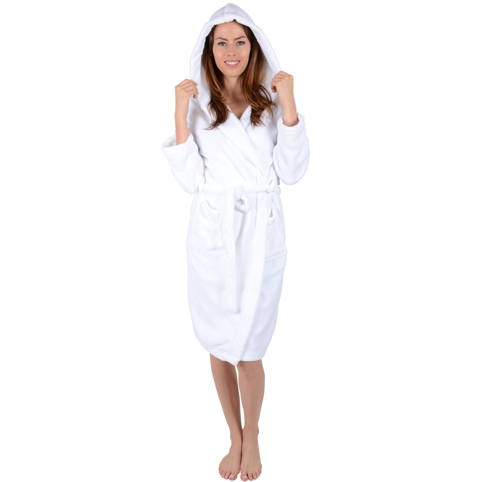 Home   Women   Ladies White Soft Coral Fleece Bath Robe With Hood Dressing  Gown Wrap Housecoat 780ff2bb3