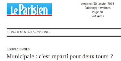 Le Parisien du 30 janvier : article sur la campagne électorale à Louveciennes