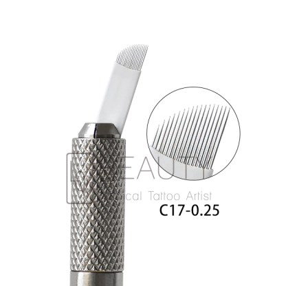3D Eyebrow Tattoo Needle Microblades 17P Curved Flexi