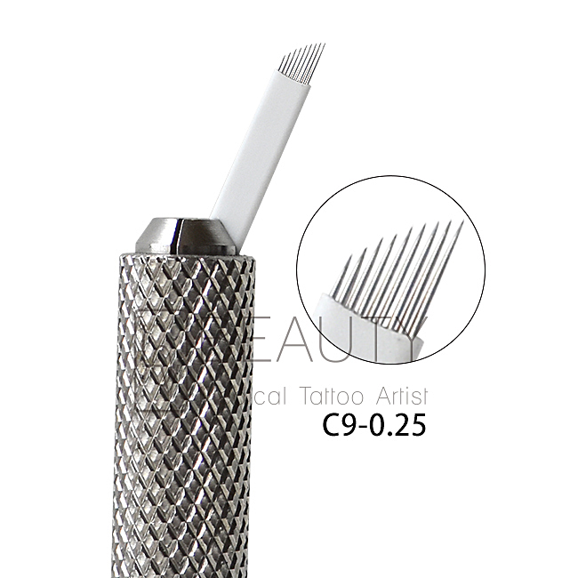 3D Eyebrow Tattoo Needle Microblades 9P Curved Flexi