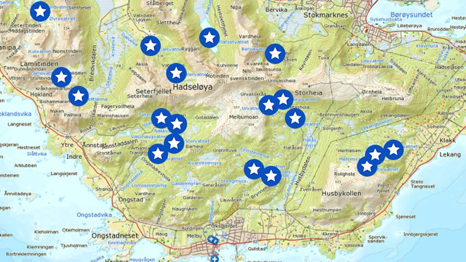 hadseløya kart Spennende fiskevann på Hadseløya (interaktivt kart) | LoVe24.no hadseløya kart