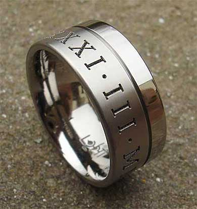 Twin Finish Personalised Titanium Wedding Ring LOVE2HAVE UK