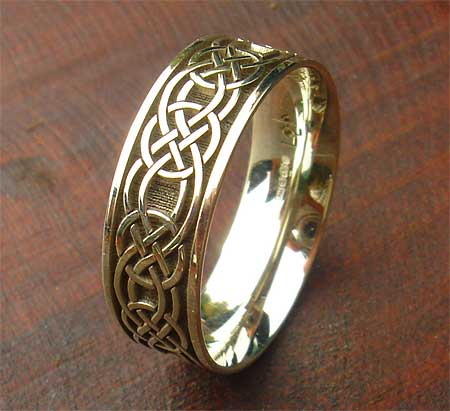 Mens Yellow Or White Gold Celtic Ring LOVE2HAVE In The UK