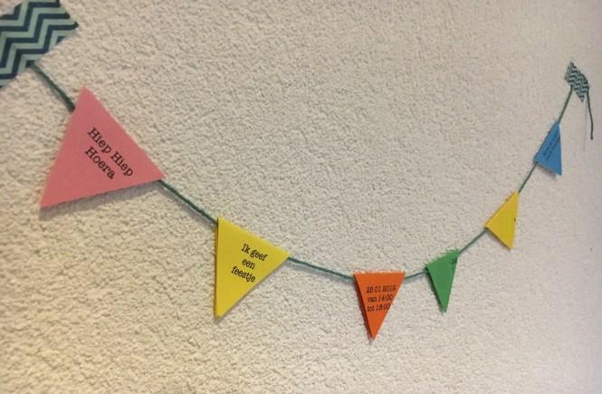 Uitnodiging Vlaggenlijn Love2try.nl verjaardag kinderfeestje