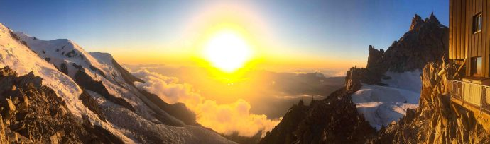 Sunset from Cosmiques Hut. Photo: David Love