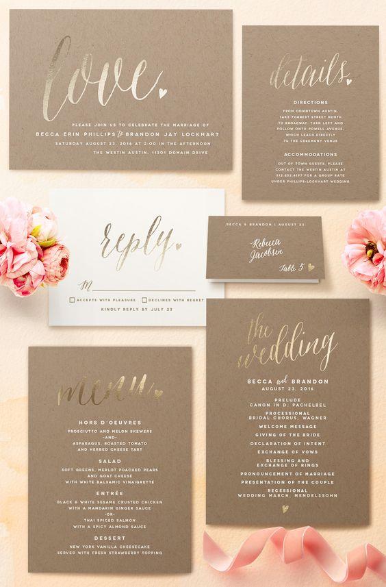 Gold Foil Printed Wedding Invitations