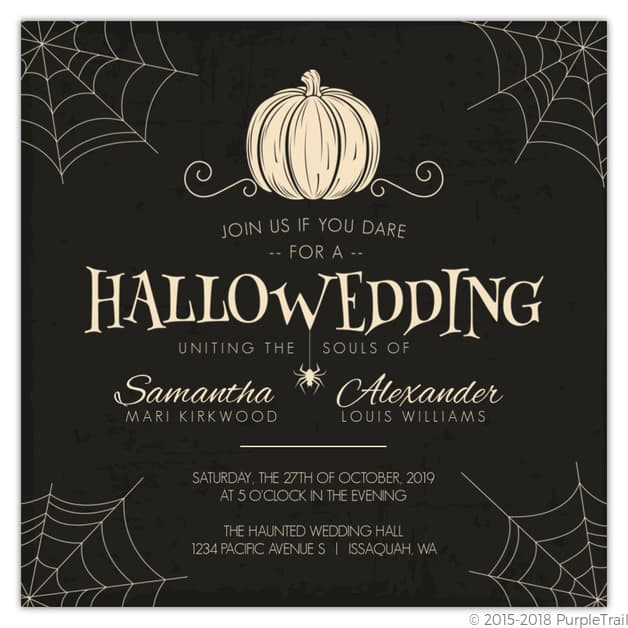 Creepy Pumpkin Wedding Invitation Purple Trail
