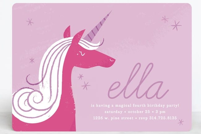 9 unicorn birthday invitations for