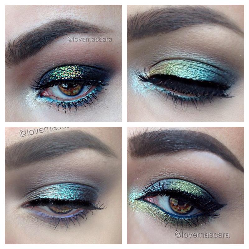 Prom eye makeup for light blue dress