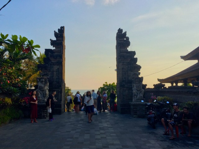 sunset at Tanah Lot temple Bali Indonesia