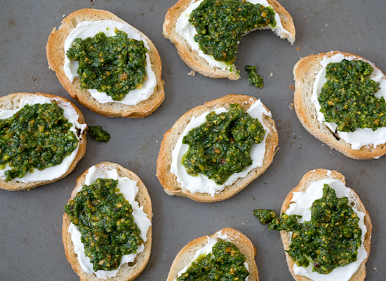 Arugula Pesto and Goat Cheese Bruschetta