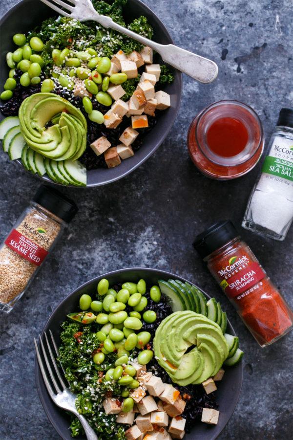 Protein-rich Buddha Bowls with Black Rice, Kale, Tofu, and Sesame Sriracha Vinaigrette