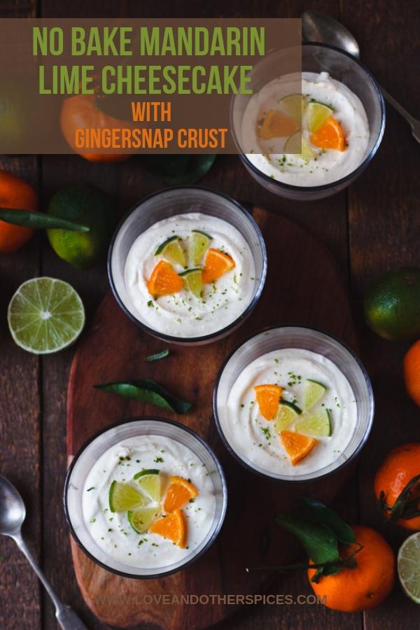 Mandarin Lime Cheesecake in pots