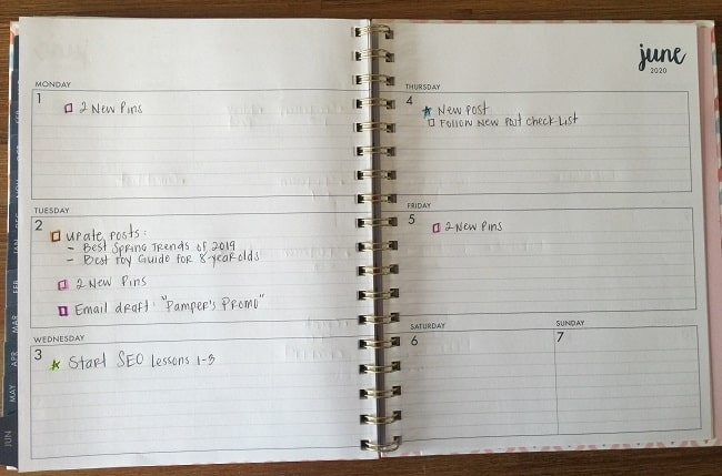 Weekly blog schedule and plan