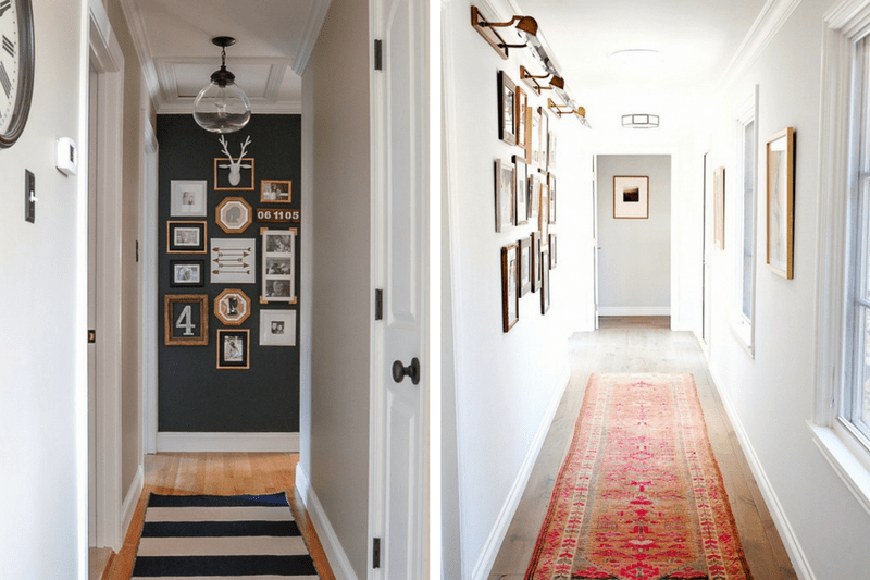 Hallway Decorating Ideas for Your Narrow Hallway   Love   Renovations Collage of 2 hallway images   the left side has a black accent wall with a