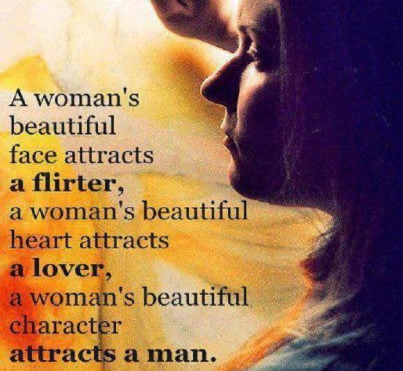 A Woman's beautiful Face Attracts A Flirter
