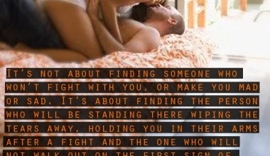 It's Not About Finding Someone Who Won't Fight With You