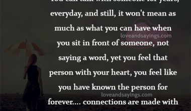 Connections are made with the heart, not the tongue