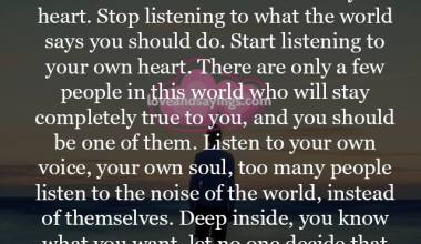 Start listening to your own heart